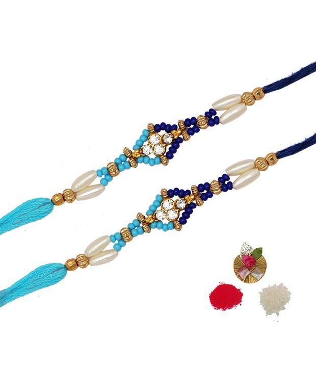 Asthetika Blue Beads Crystal Traditional Rakhi - Set Of 2