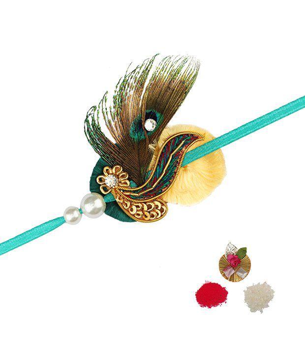 Asthetika Peacock Colours Zardosi Rakhis