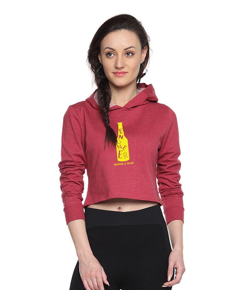 Campus Sutra Maroon Cotton - Fleece Non Zippered Sweatshirt