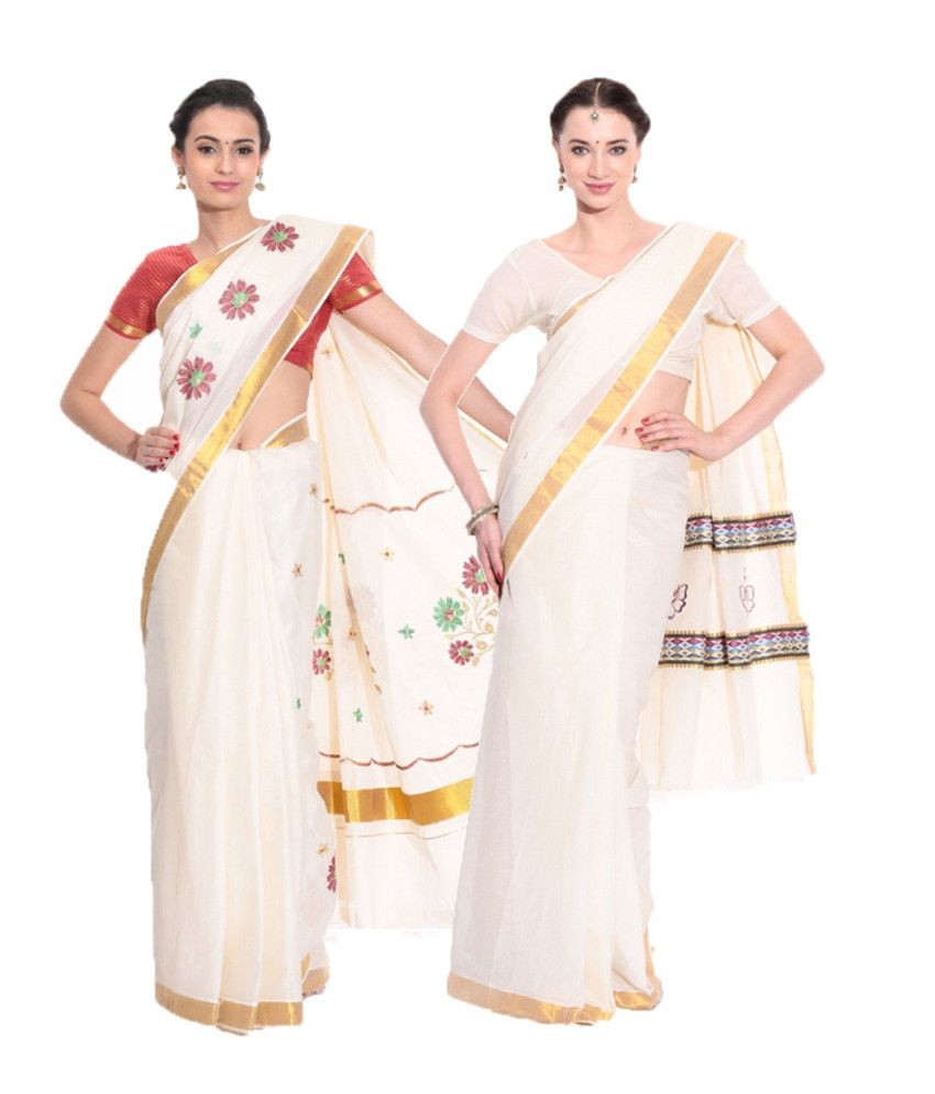 Fashion Kiosks Combo of Offwhite Kerala Kasavu Cotton Sarees with Matching Blouse (Pack of 2)