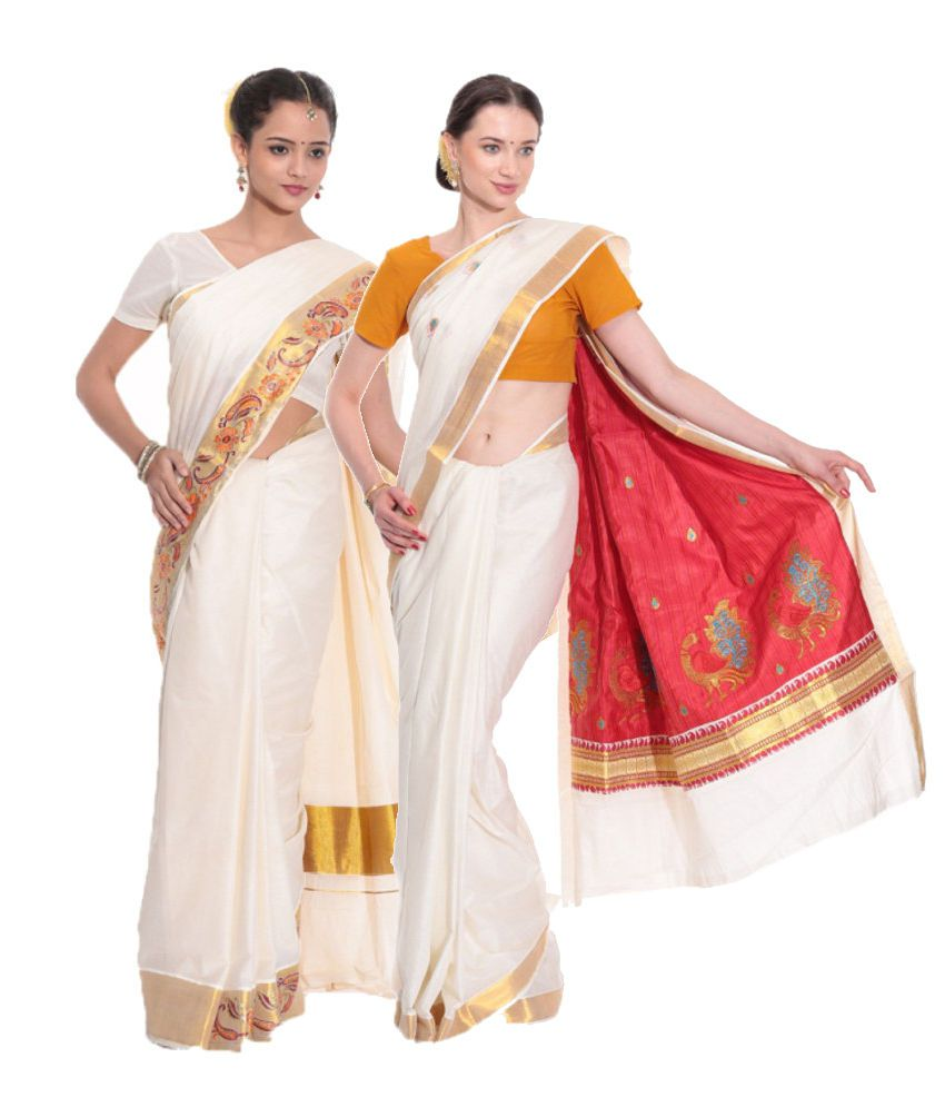 Fashion Kiosks Combo of Offwhite and Red Kerala Kasavu Cotton Sarees with Matching Blouse (Pack of 2)