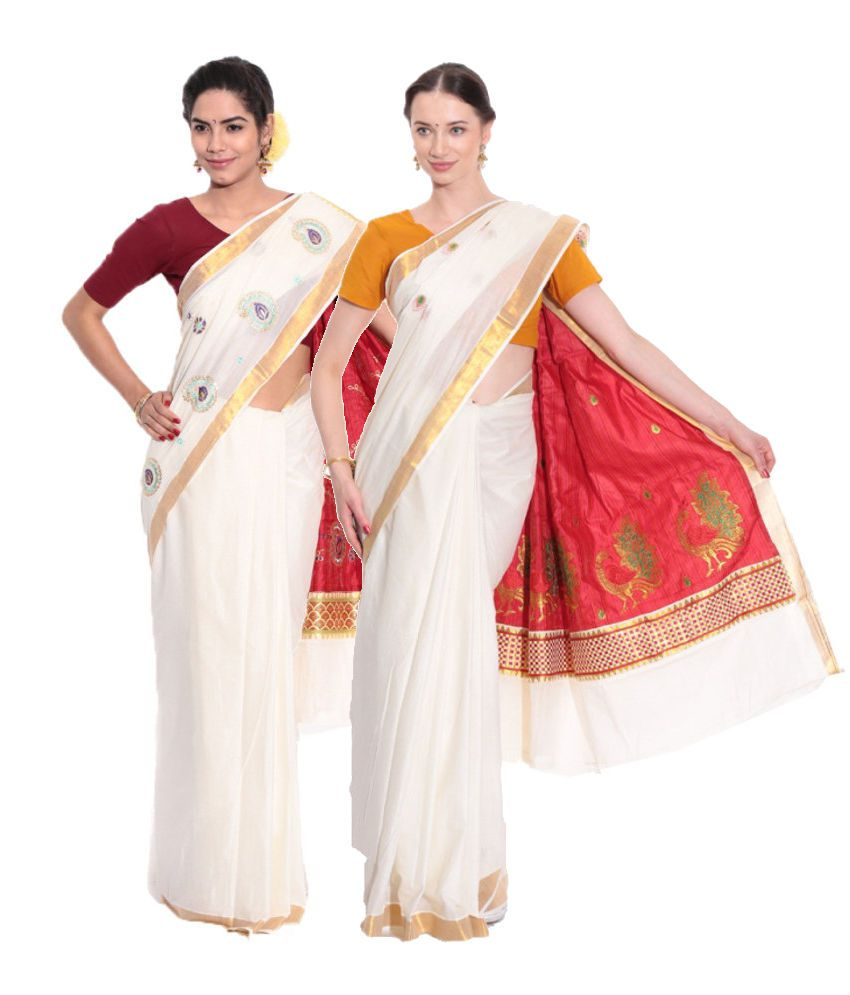 Fashion Kiosks Combo of Red Kerala Kasavu Cotton Sarees with Matching Blouse (Pack of 2)