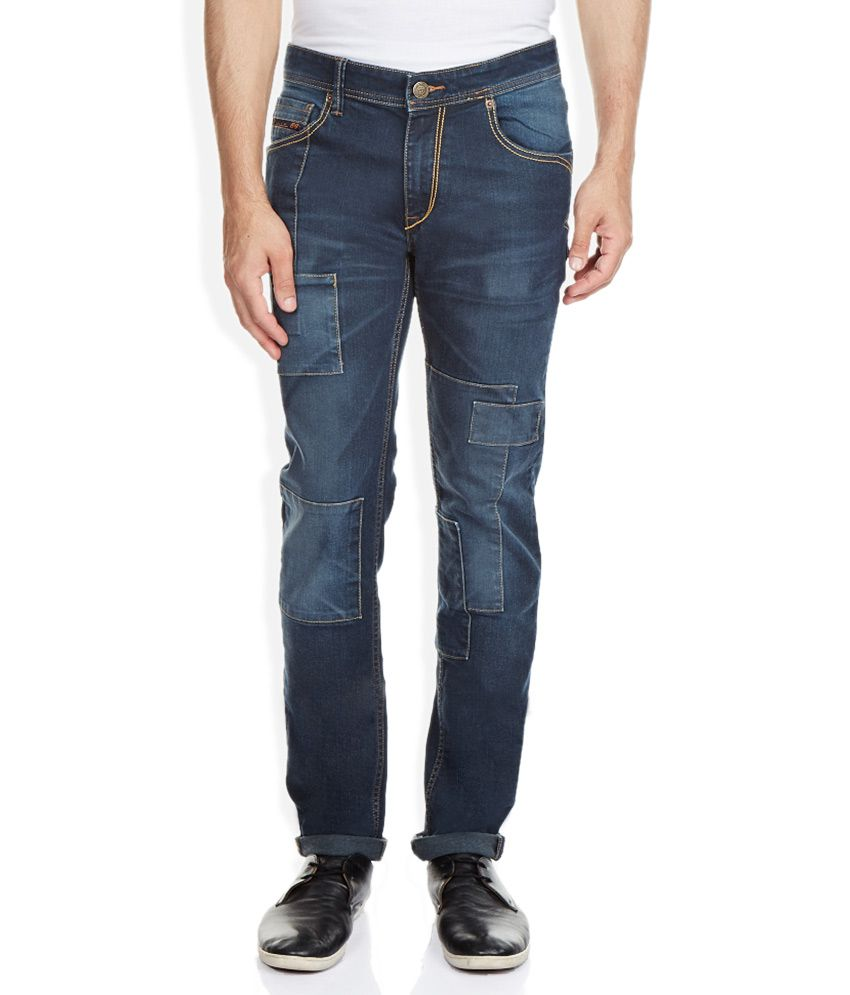 Route 66 Blue Slim Fit Faded Jeans