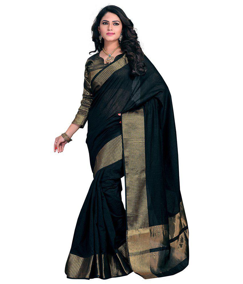 85df56286f Tagbury Black Cotton Silk Saree - Buy Tagbury Black Cotton Silk Saree Online  at Low Price - Snapdeal.com