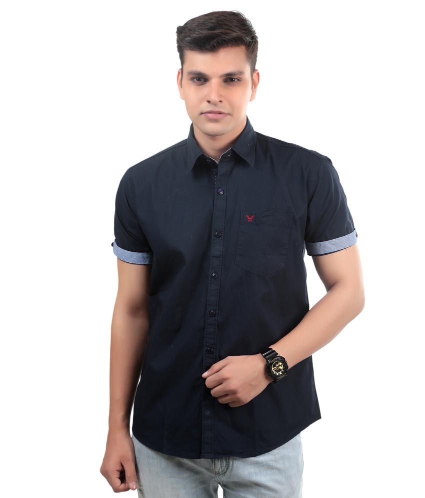 4bcae3f5cce American Eagle Black Cotton Blend Slim Fit Half Shirt - Buy American Eagle  Black Cotton Blend Slim Fit Half Shirt Online at Best Prices in India on  Snapdeal