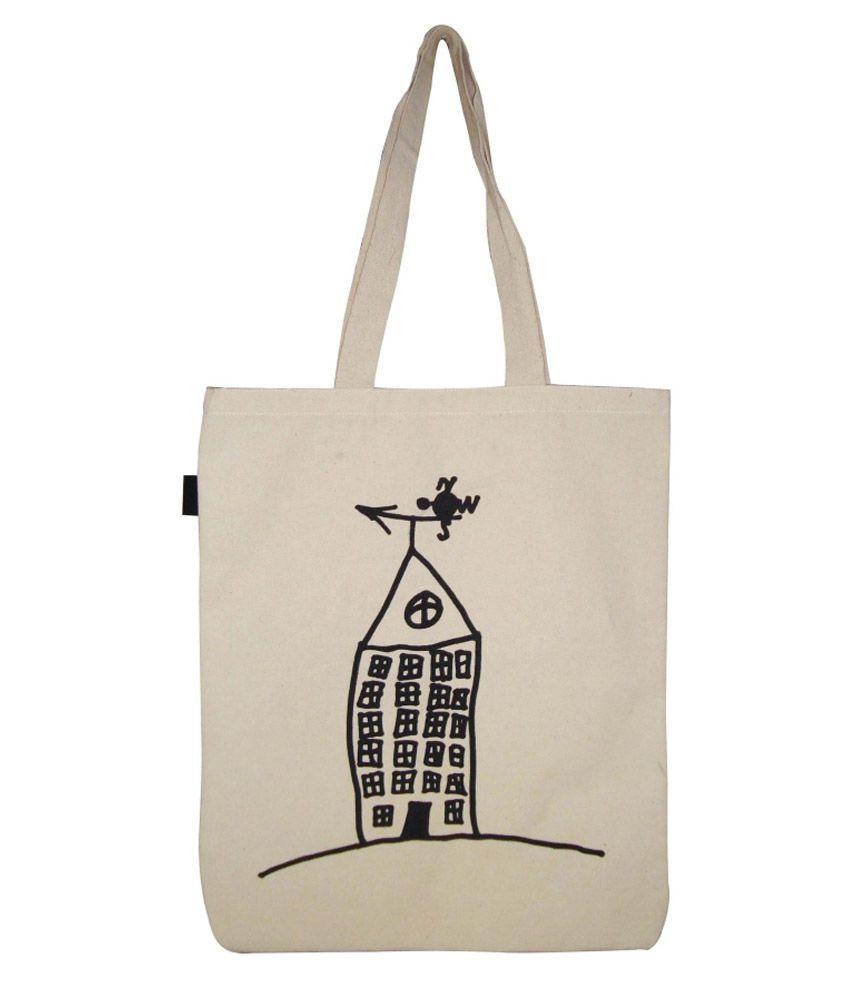 Angesbag White Canvas Cloth Tote Bag
