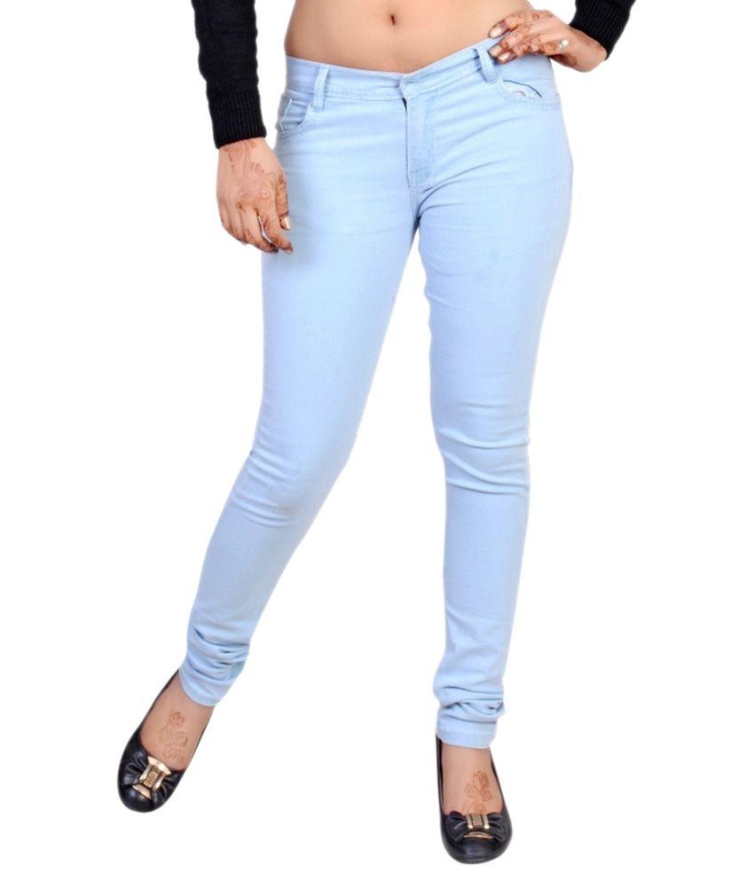 Buy Golden Cloud Women Light Blue Stretchiable Slim Fit Jeans ...
