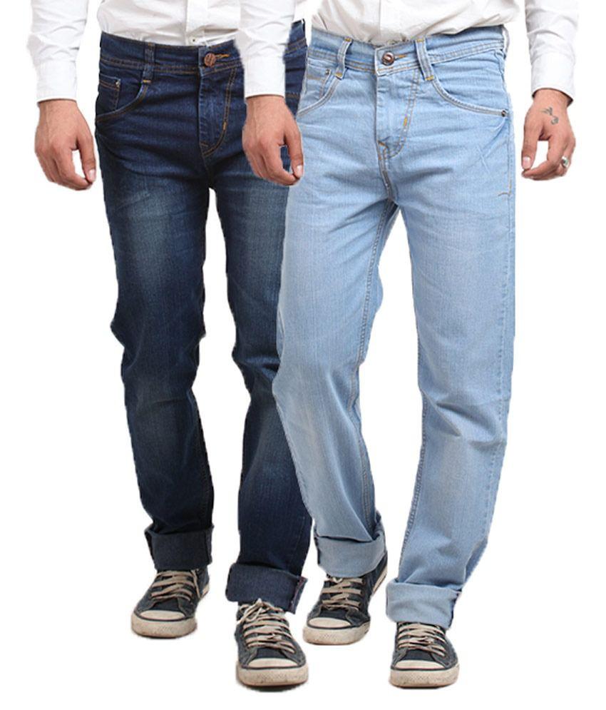 X-Cross Blue Cotton Blend Regular Fit Jeans - Set Of 2