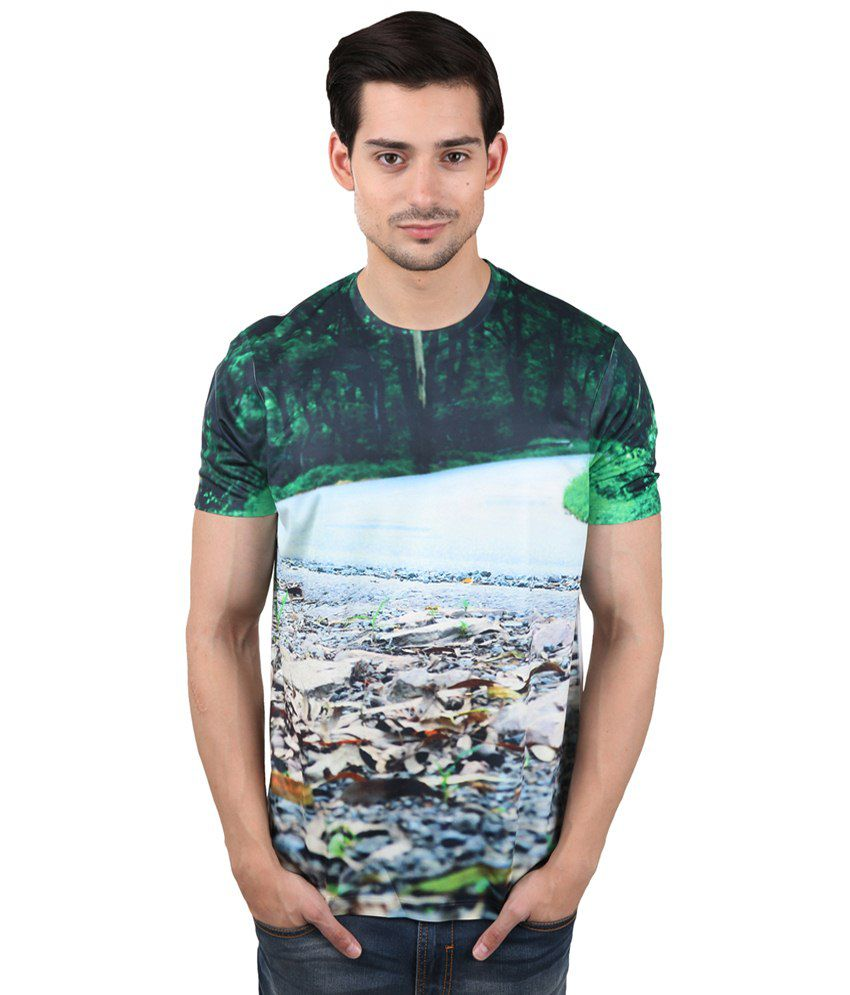 Freecultr Express Fascinating Multicolour Round Neck Half Sleeve T Shirt for Men