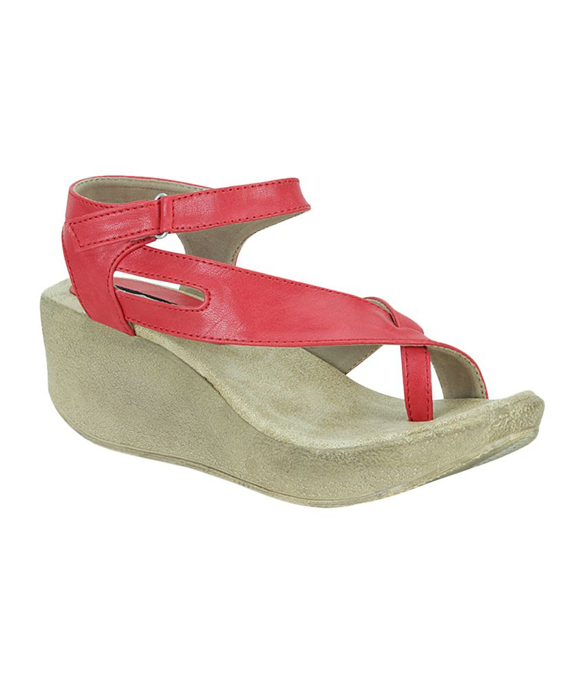 Get Glamr Red Faux Leather Wedges