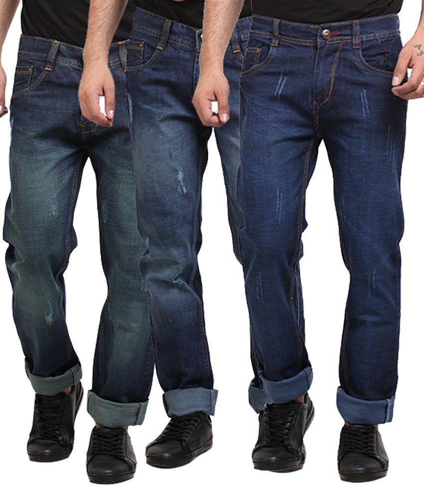 X-cross Blue Regular Fit Jeans - Pack of 3