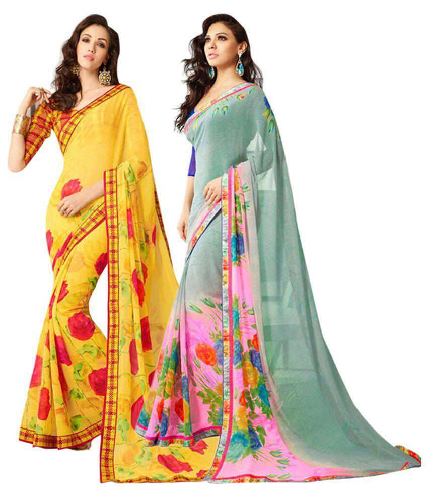 Akshaya Fashions Multicolour Pure Georgette Pack of 2