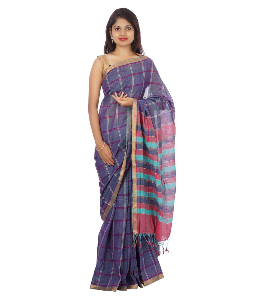 Devi Handlooms Purple Cotton Saree