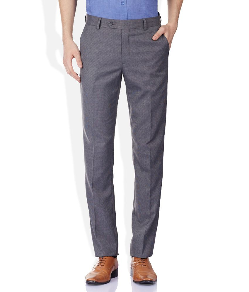 Wills Lifestyle Gray Formals Trouser