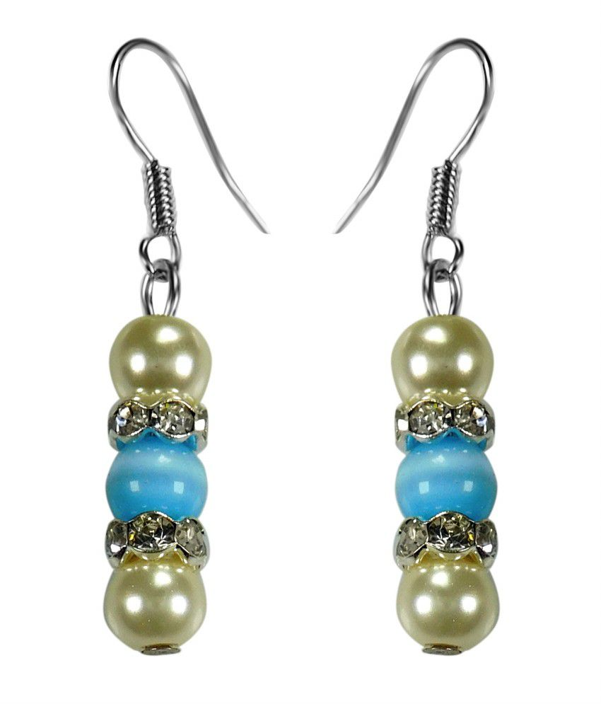 Crystals & Beads Blue Colour Round Cats Eye & White Colour Pearl With Diamond Spacer Earring
