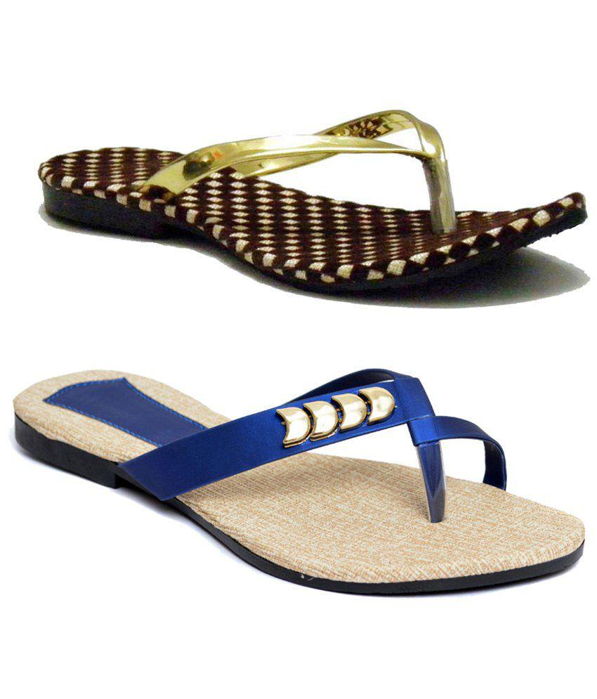 Indirang Combo of 2 Brown & Blue Flat Slip Ons