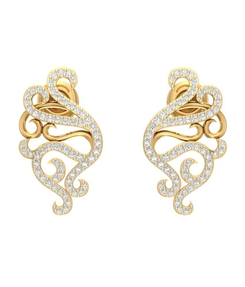 Jewels5 14kt Gold Diamond Huggie Earring