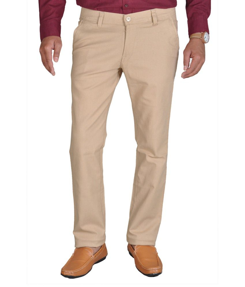 Routeen Tan Cotton Lycra Trousers