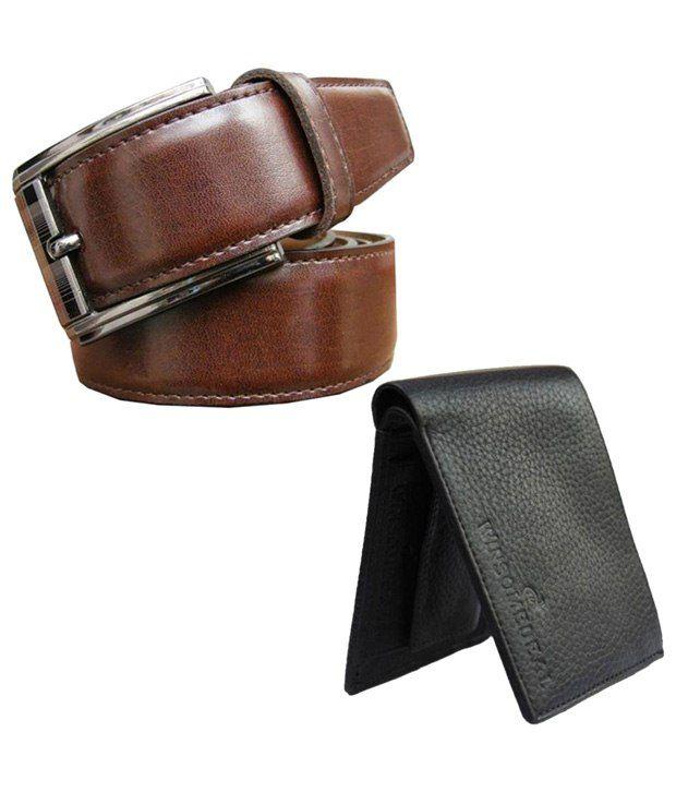 Winsome Deal Combo of Black Wallet & Brown Belt for Men