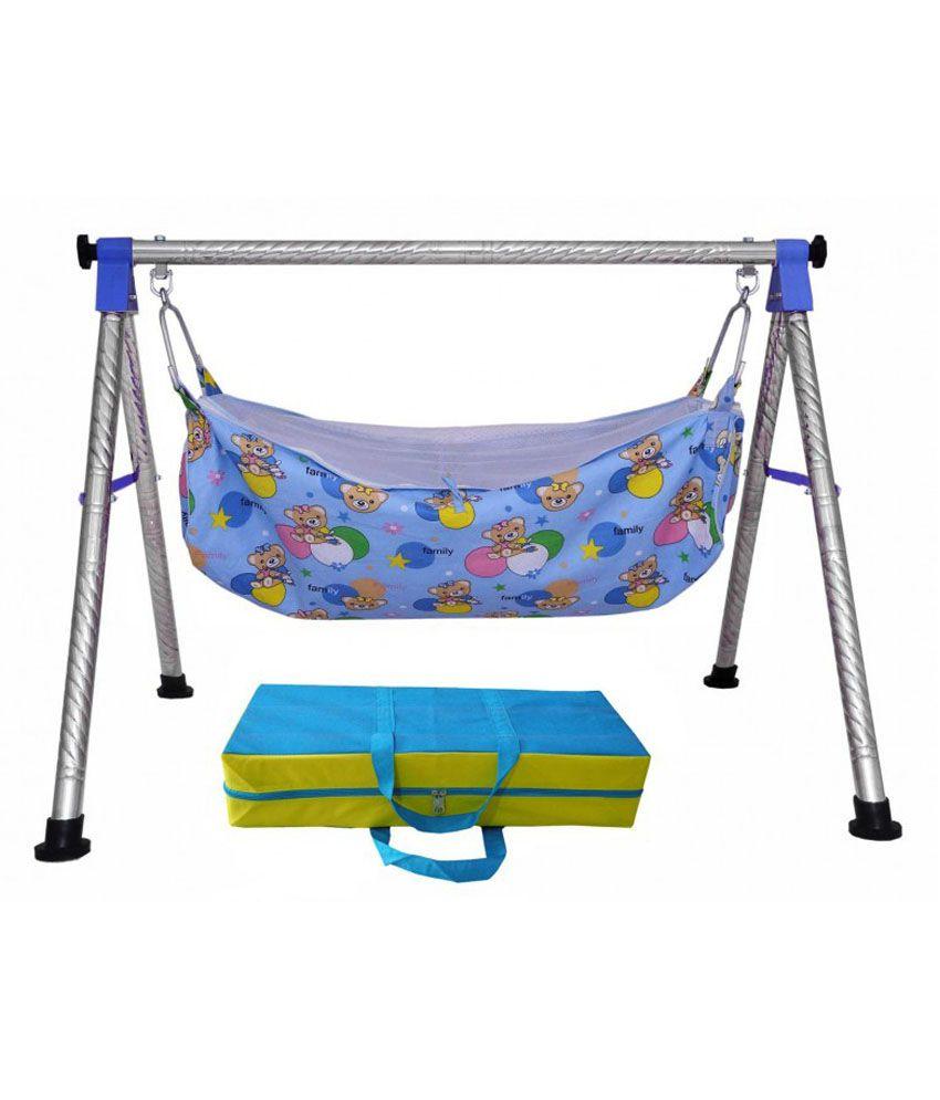 Evera Blue Satinless Steel Baby Craddle