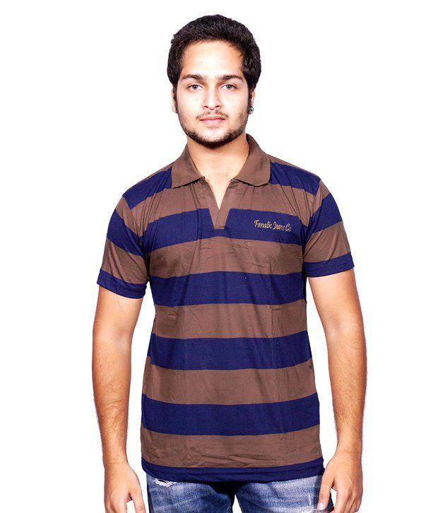 Fanatic 100% Cotton Collar Stripe Design Semi Formal Men T-shirt Multi