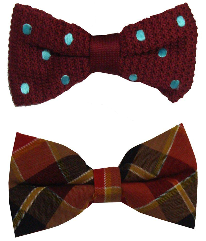 Leonardi Stunning Look Pack of 2 Red & Beige Casual Bow Ties for Men