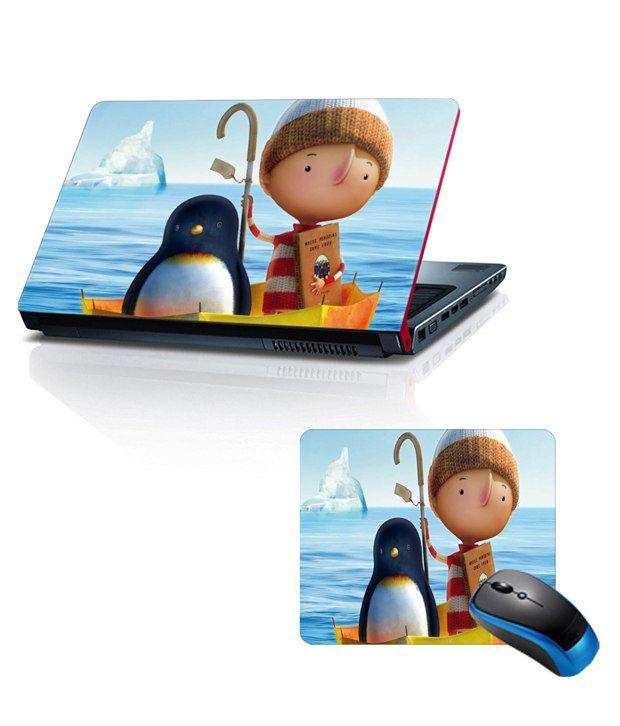 Shopkeeda Combo Of 15.6 Laptop Skin and Mouse Pad Penguin