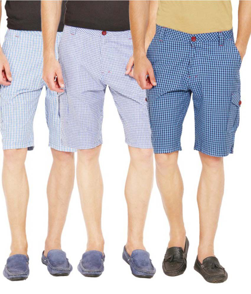 Wajbee Cotton Cargo Shorts - Set Of 3