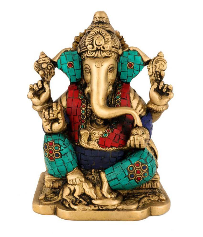 Collectible India Indian God Ganesha Idol - Brass Ganesh statue - stone inlay work