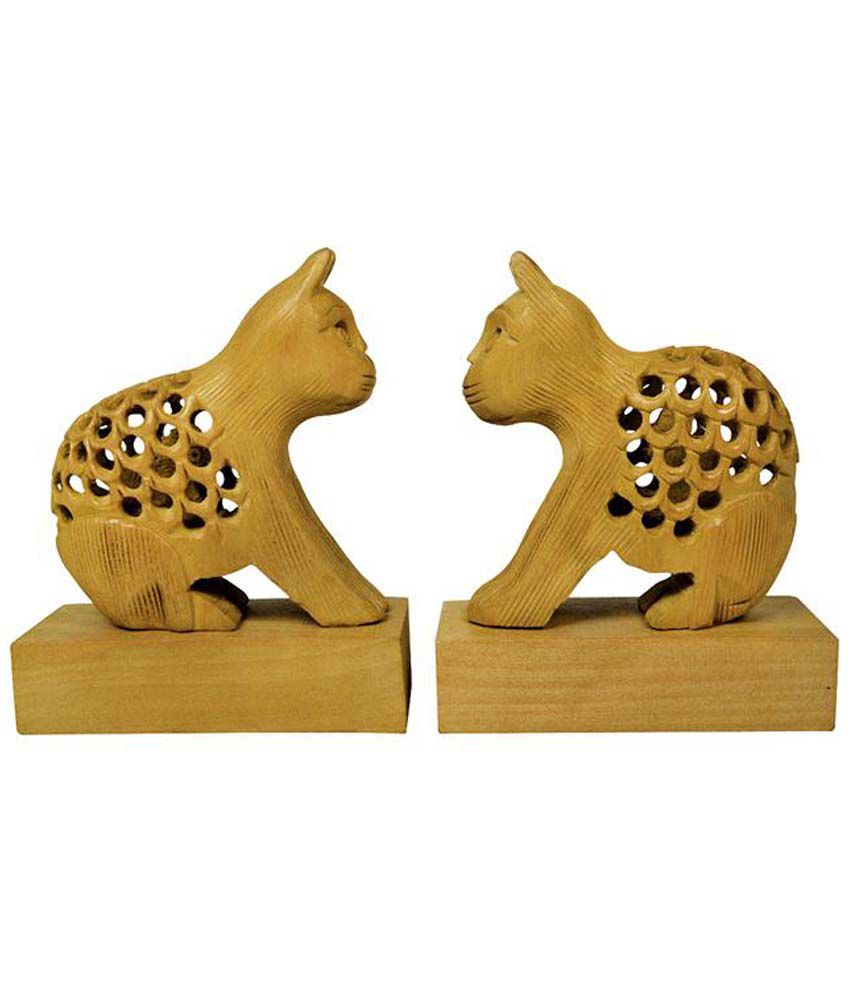 Kraft Mart Kraft Mart Brown Wood Cat Jali Showpieces
