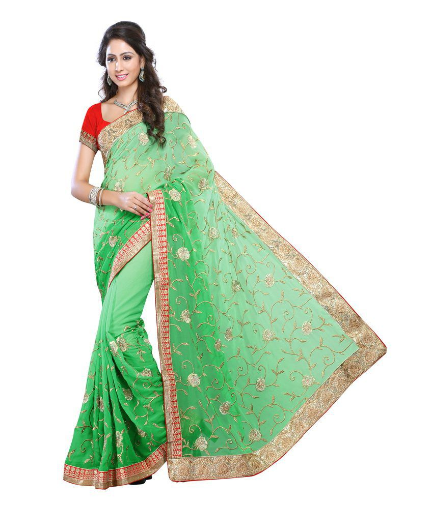 Lookslady Green Faux Georgette Saree