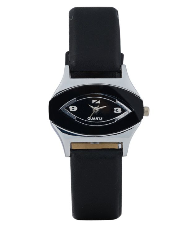 Zeus Black Leather Women Watches