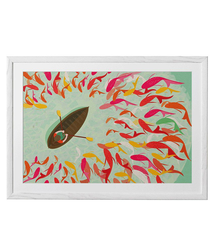 Chumbak Green And Red Fish Boat Art Print With White Frame Large 24 ...