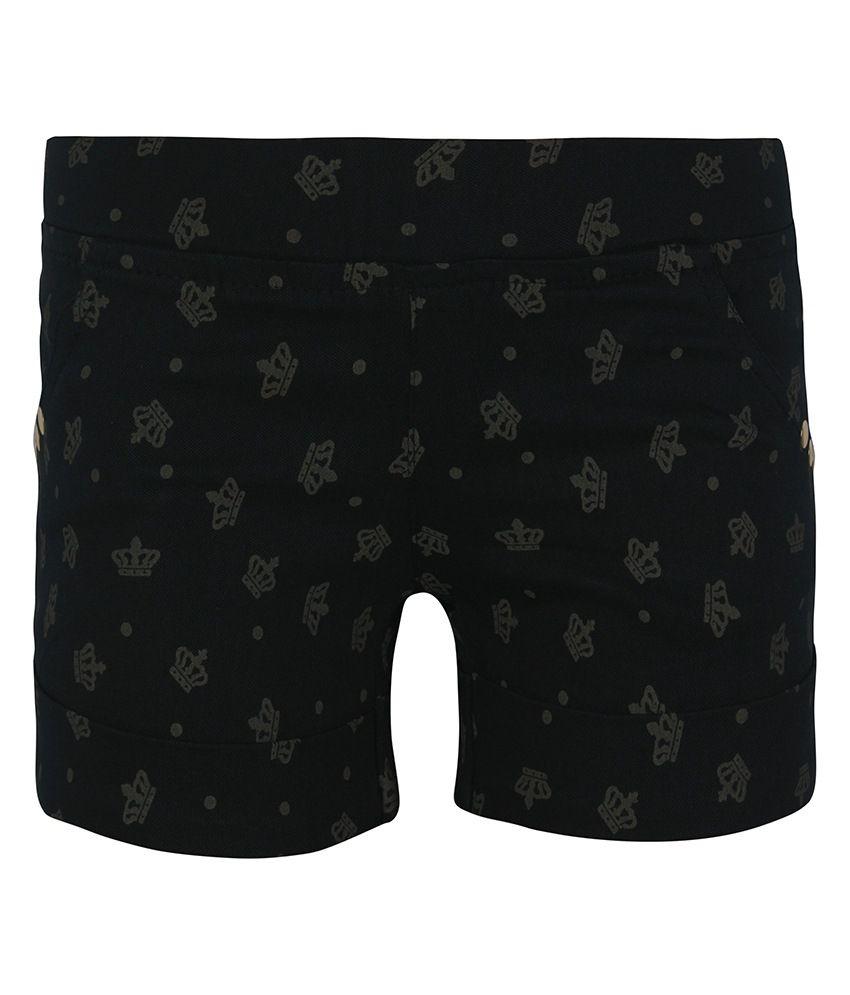 Jazzup Black Cotton Printed Shorts