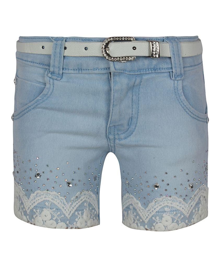 Jazzup Blue Denim Patch Work Shorts