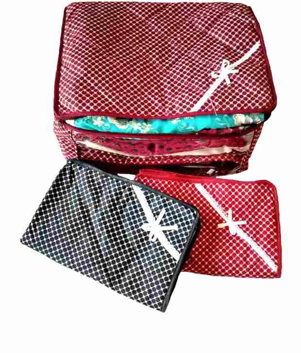 Kuber Industries Multicolor Saree Covers - Combo Of 3
