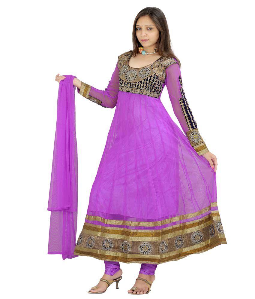 M B Creation Purple Net Stitched Suit