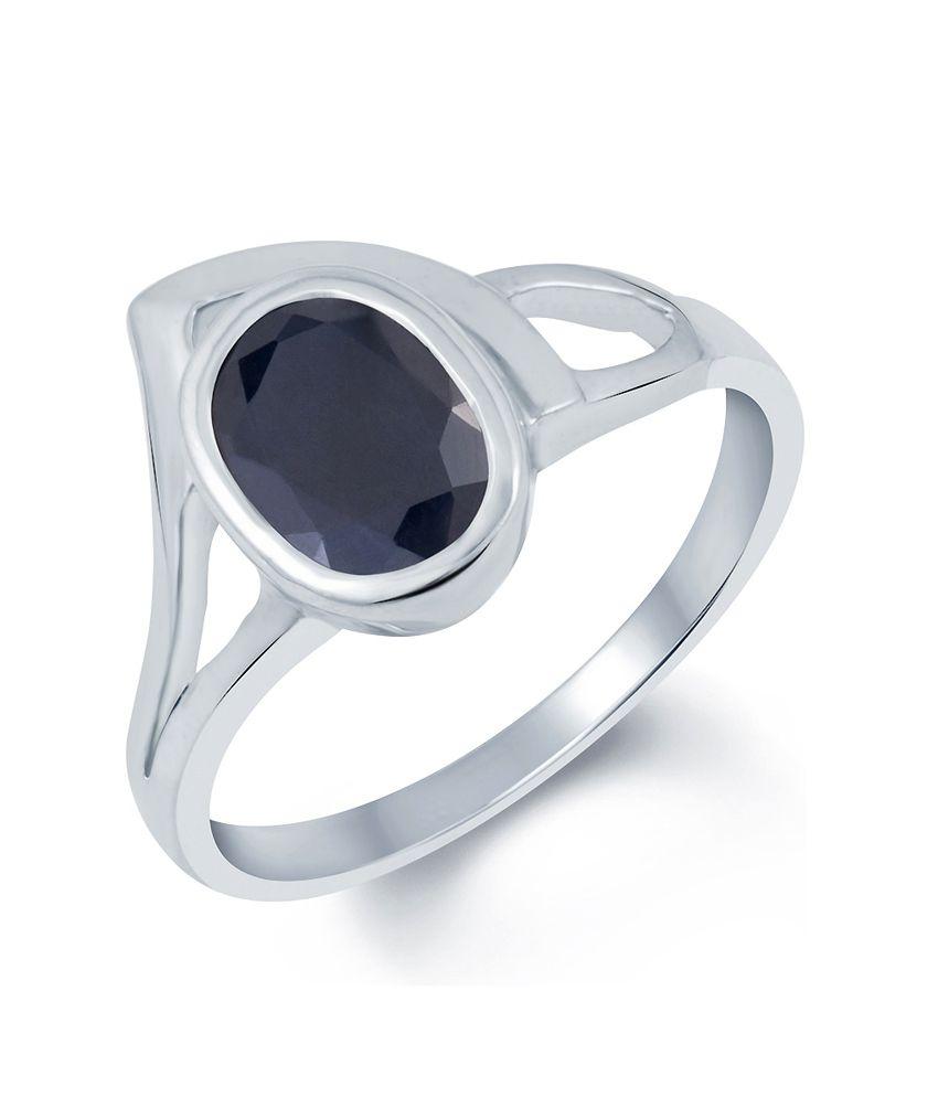 G-Luck Blue Sapphire (Neelam) 92.5 Silver Gemstone Ring