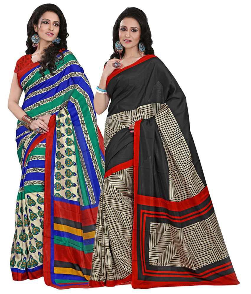 Yuvanika Black & Blue Cotton Pack of 2