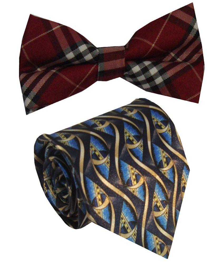 Leonardi Breathtaking Set of Blue Broad Necktie & Red Bow Tie for Men