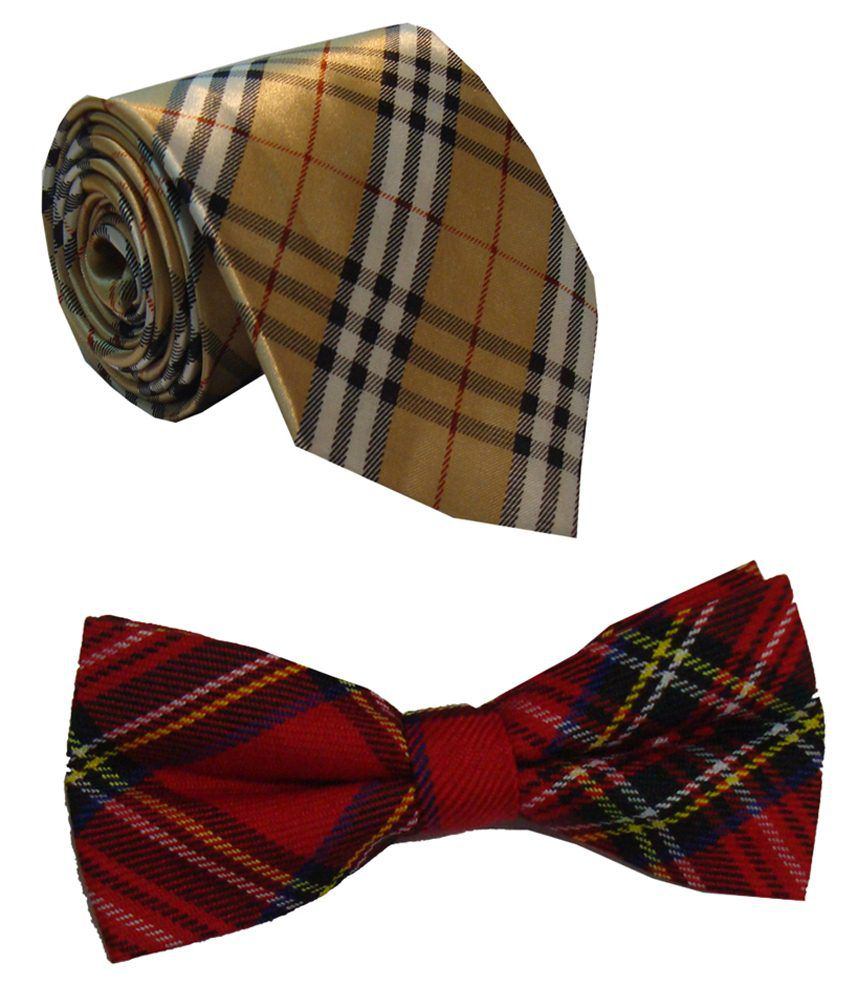 Leonardi Modish Set of Golden Broad Necktie & Red Bow Tie for Men