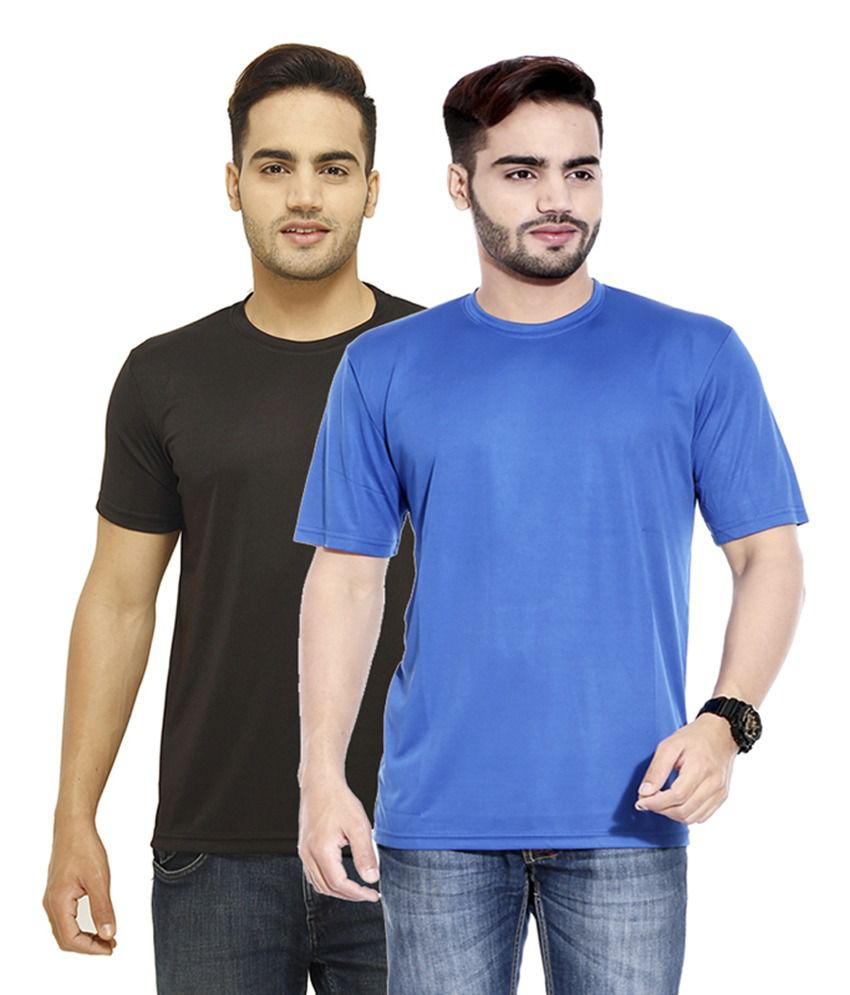 Profiler Blue & Black Polyester Round Neck Solid T-Shirts (Pack of 2)