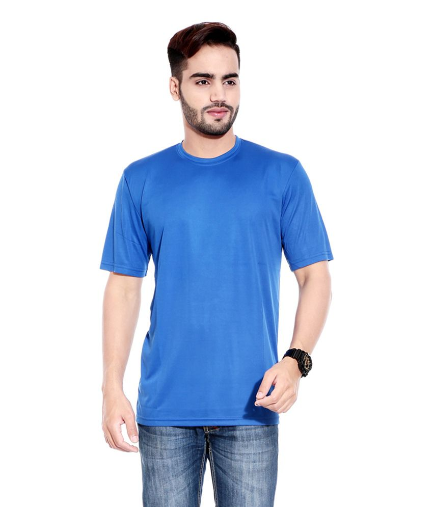 Profiler Blue Polyester Round Neck Solid T-Shirts (Pack of 6)