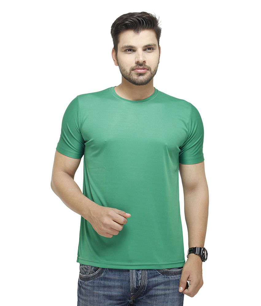 Profiler Green Polyester Round Neck Solid T-Shirts (Pack of 2)