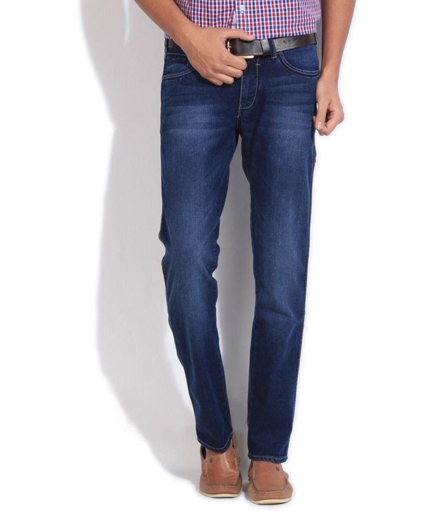 Wrangler Blue Cotton Slim Fit Jeans