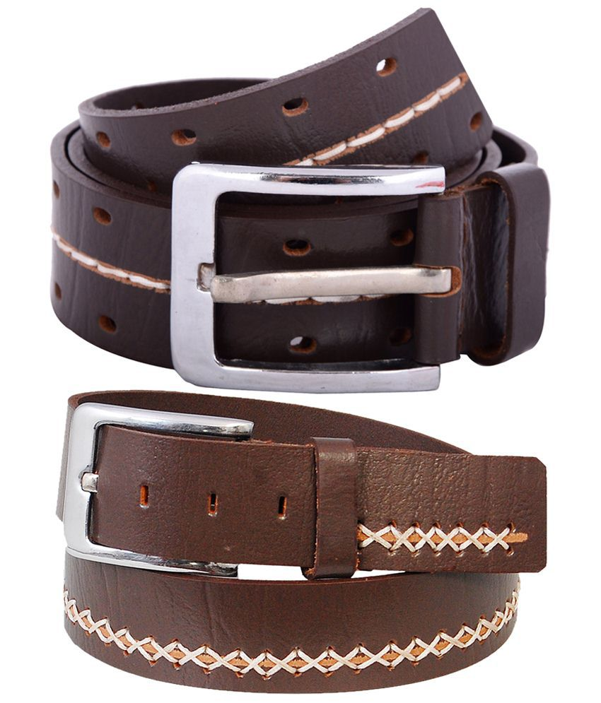 Zohran Durable Pack of 2 Brown Belts for Men