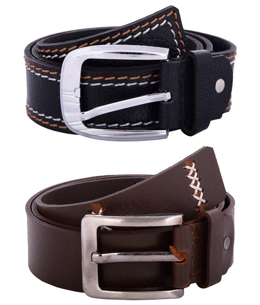Zohran Good Looking Pack of 2 Brown & Black Belts for Men