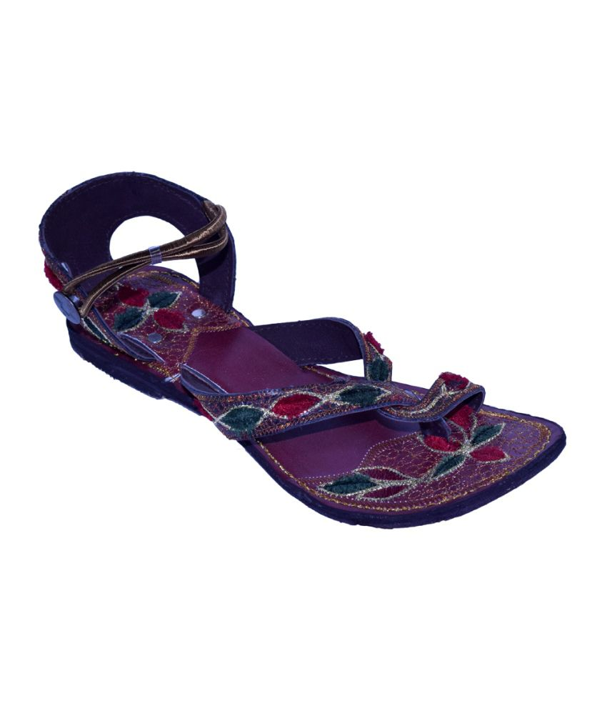 Alankrita Purple Faux Leather Flat Handmade Ethnic Flats