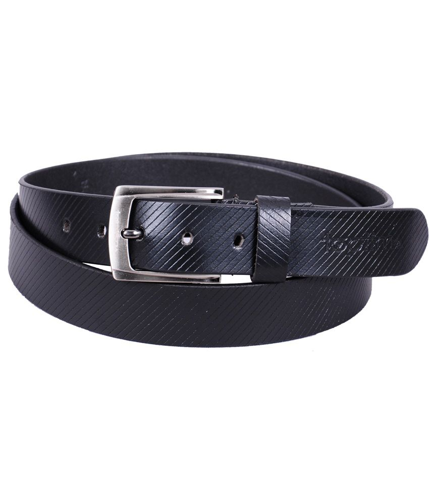 Toptima Black Leather Formal Belt For Men