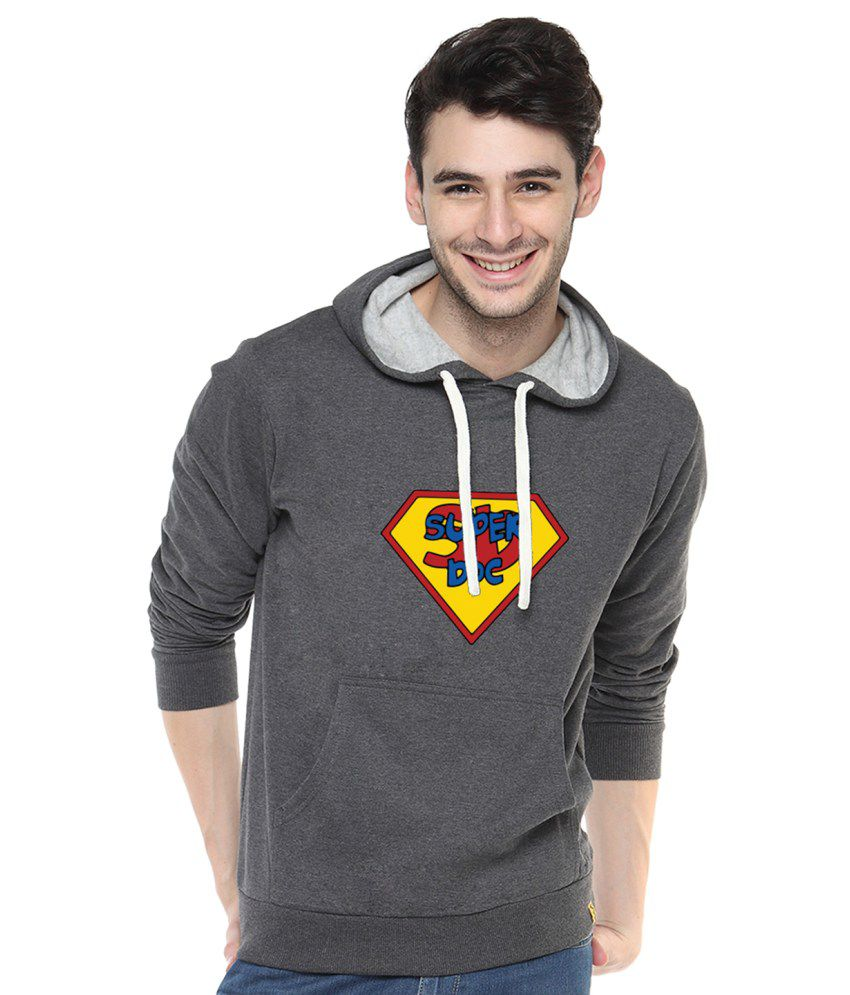 Campus Sutra Charcoal Cotton Sweatshirt